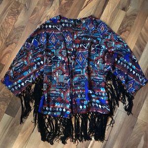New Directions • Boho Print Tassle Kimono